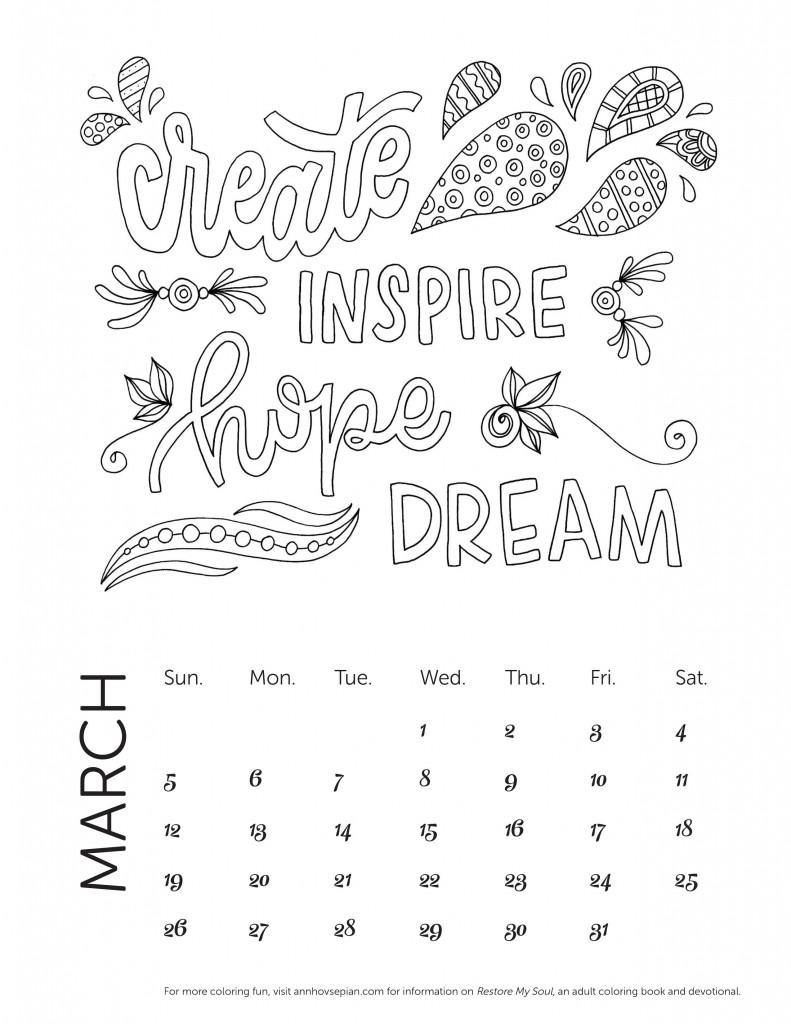 Restore My Soul Calendar Mar 2017